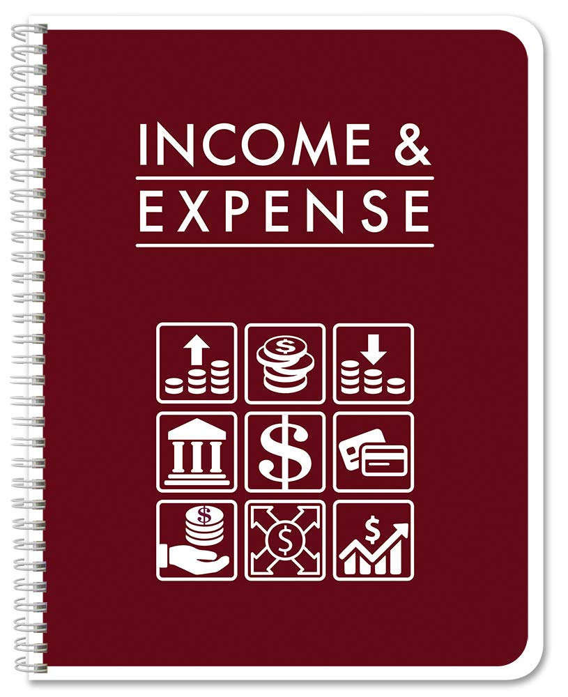 BookFactory Income & Expense Journal/Income and Expenses Tracking Ledger/LogBook 108 Pages - 8.5'' x 11'' Wire-O (LOG-108-7CW-PP-(IncomeExpense)-BX) by BookFactory