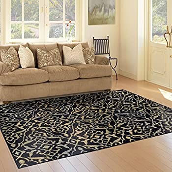 Superior 8mm Pile Height with Jute Backing, Vintage Distressed Geometric Pattern, Fashionable and Affordable Woven Rugs, 5' x 8' Rug, Black