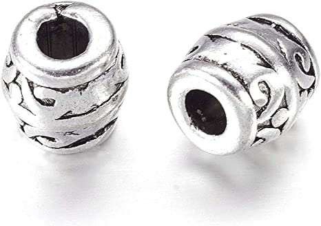 30Pcs Tibetan Silver Carving Spacer Tube Loose Beads Charm Jewelry Finding Craft