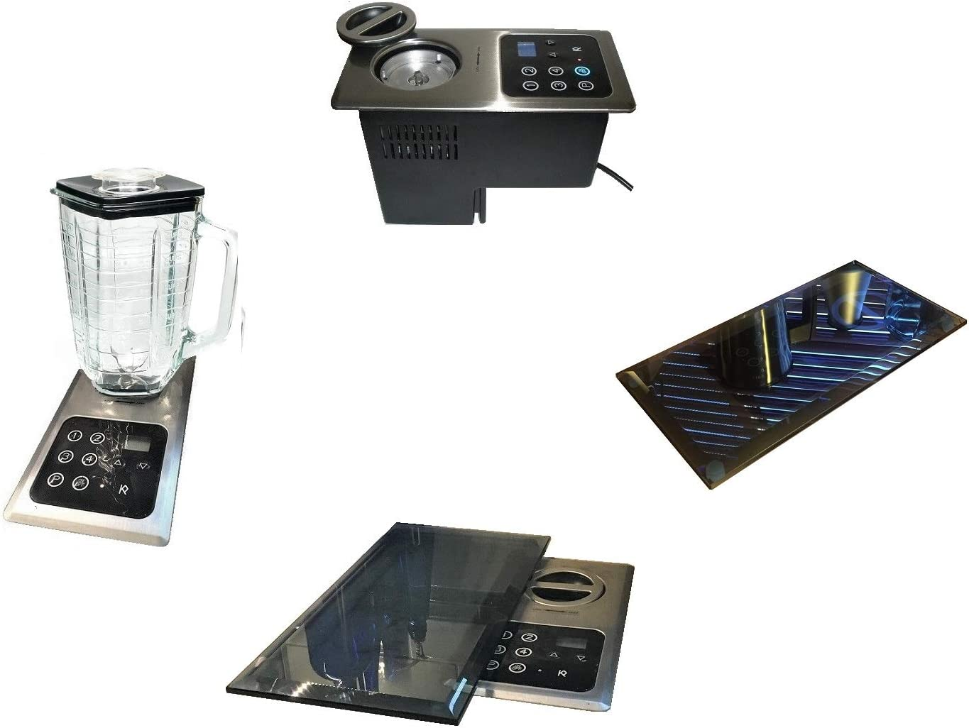 Built-in Glass Blender: 1000 Watt Motor Hidden Below Counter Top; Multi-Function, Universal: + Protective Blk Glass Cover-(re: NuTone Food Center 251); Drawer Install Option; Huge Space Saver