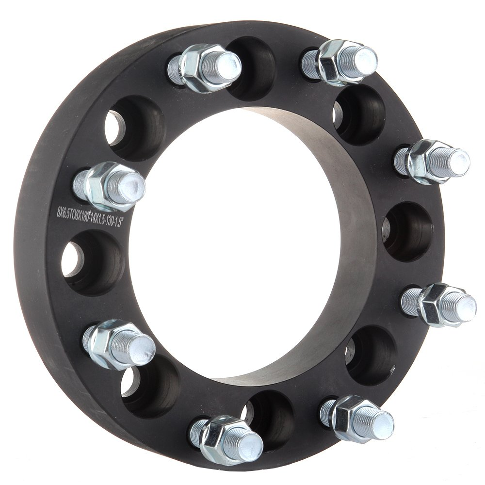 SCITOO Compatible with 8x6.5 to 8x180 Black Wheel spacers 4X 1.5|38mm Bolt On 14x1.5 Studs 130mm CB Adapters fit Chevy K3500 GMC Sierra 1500 HD Sierra 3500 Hummer H2