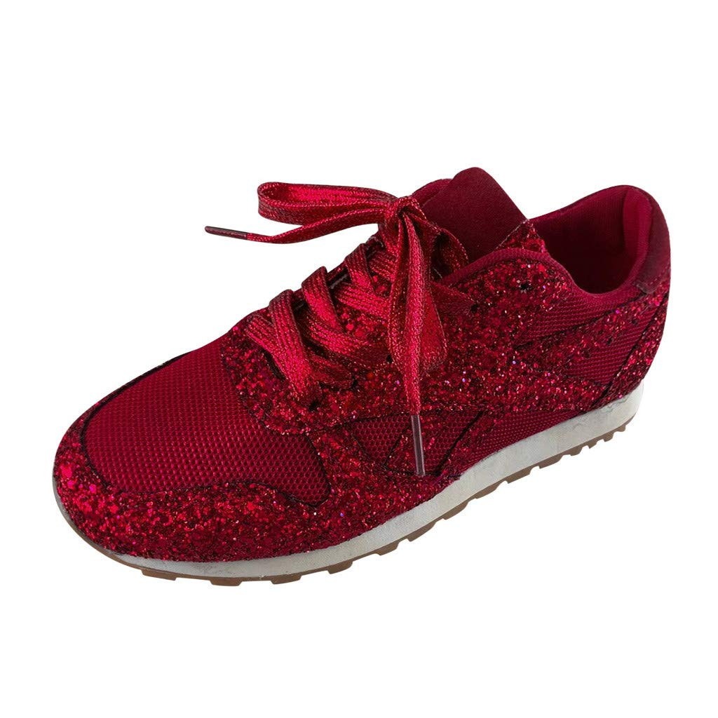 KAIXLIONLY Womens Mesh Sequins Breathable Crystal Bling Lace Up Sport Running Shoes Platform Lace Up Sneakers