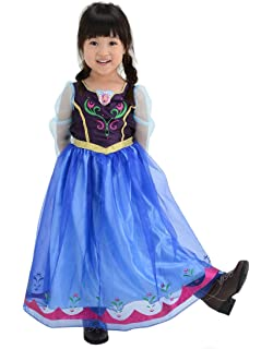 ff79b66bb5004 ディズニー アナと雪の女王 アナ おしゃれドレス キッズコスチューム 女の子 100cm-110cm