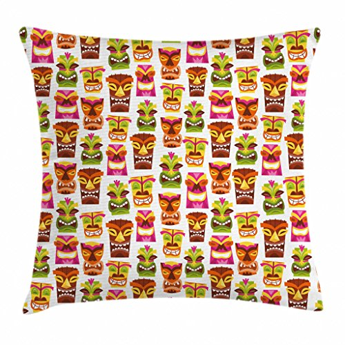 Ambesonne Tiki Bar Decor Throw Pillow Cushion Cover, 60's Retro Inspired Cute Hawaiian Party Happy Tiki Statues Pattern Colorful, Decorative Square Accent Pillow Case, 18 X 18 Inches, Multicolor ()