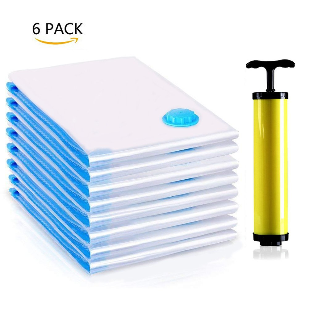 Premium Vacuum Storage Bags One Package of 6 Pcs (3 Large 100x80cm + 3 Medium 80x60cm) with Free Hand Pump Durable Space Saver Bags Best for Clothes, Bedding, Duvets, Towels, Curtains and Traveling HA00801-CA