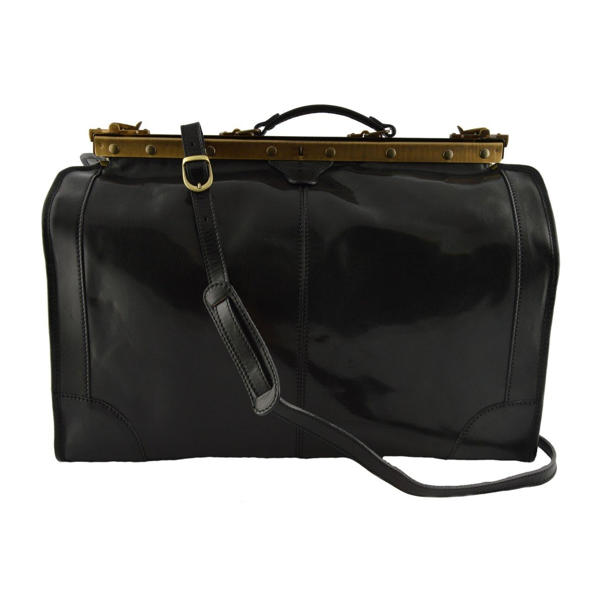 Made In Italy Leather Travel Bag Color Black - Travel Bag B017N8YQHO