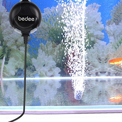 bedee Air Pump, Aquarium Air Pump Fish Tank Air Pump Oxygen Supply Silent Mini 1W 0.45L/Min with Tubing Air Pump Accessories/Air Bubble Stone For Fish Tank Up to 50 Litre
