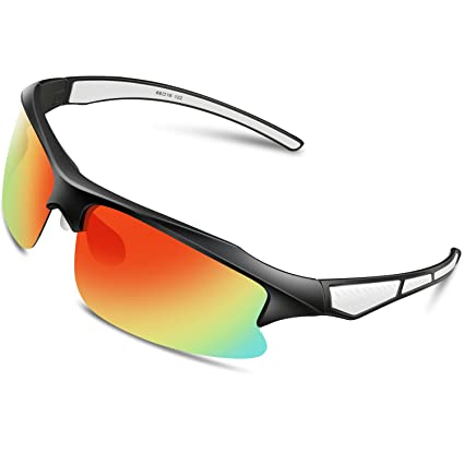 1b1243caed Woolike Sports Sunglasses Polarized Glasses for Women Man Cycling Running  Fishing Golf Outdoor WL507 (Black White