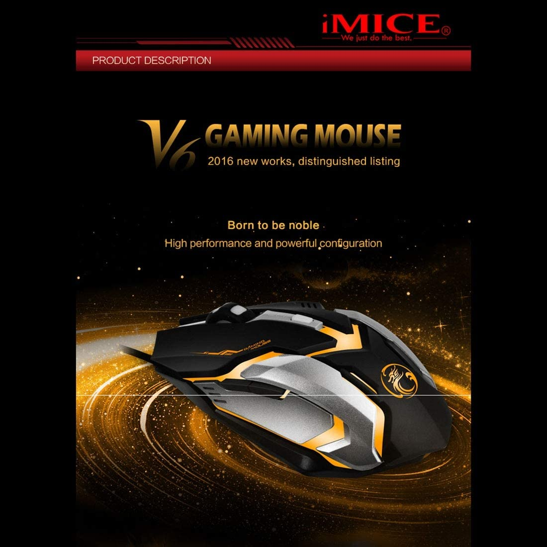 Black Mouse V6 LED Colorful Light USB 6 Buttons 3200 DPI Wired Optical Gaming Mouse for Computer PC Laptop yf