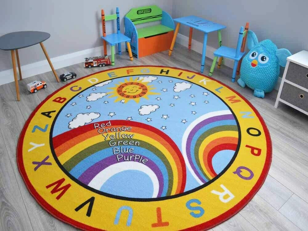 Small Large Boys Girls Kids Alphabet Numbers Childrens School Bright Rugs Mats 133cm Circle
