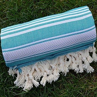 Miami Blue Turkish Towel Peshtemal - 100% Natural Dyed Cotton - for Beach Spa Bath Swimming Pool Hammam Sauna Yoga Pilates Fitness Gym Picnic Blanket (Dandelion Textile)