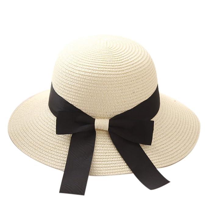 Cappello di paglia estivo Elegante cappello da sole Spiaggia Vacanza  viaggio Picnic Mare Cappello di paglia a tesa larga  Amazon.it   Abbigliamento 89ba40b728e7