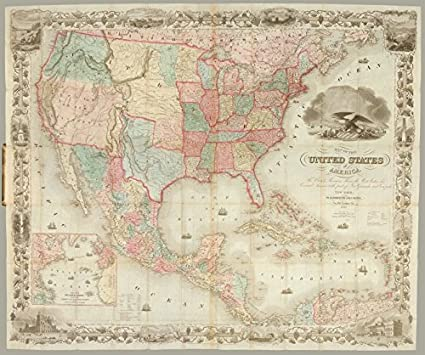 Amazon.com: Historic 1849 Map   Map of the United States of America ...