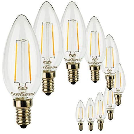 SunSeed 10x Bombilla Vela Filamento LED E14 2W=25W Blanco Cálido 2700K