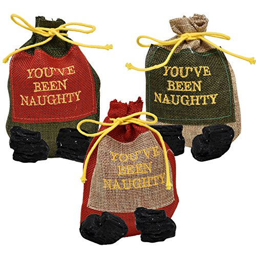 Gift Boutique Christmas Bag of Coal in a Drawstring Bag You've Been Naughty for Santa Stocking Stuffer, Pack of 3