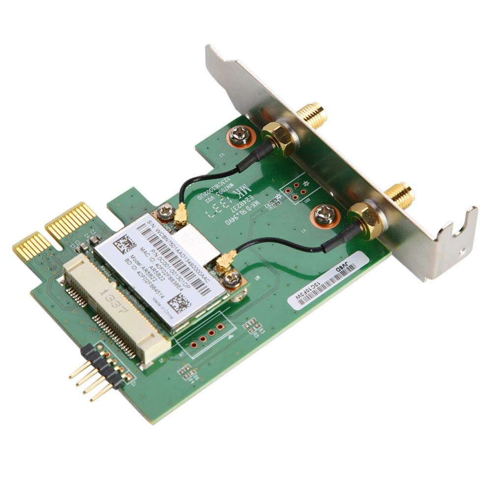 Fdit 300Mbps Wireless PCI-E WiFi Adapter Dual Band Desktop PCI-E Wireless Network Card with Bluetooth 4.0 BT for Atheros AR5B22 PCI Express Desktop ...