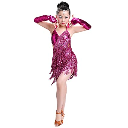 Amazon.com: KINDOYO Girls Latin Dance Dress Jazz Performing ...