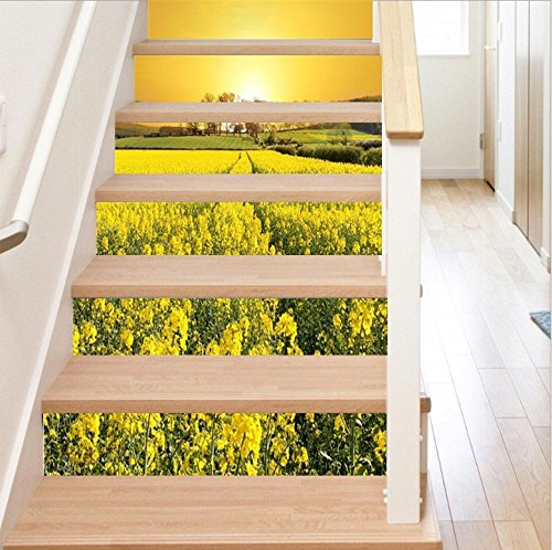 FLFK 3D Sunset Yellow Flowers Stair Stickers Self-Adhesive Removable Pastoral Scenery Wallpaper Murals for Home Decals 39.3