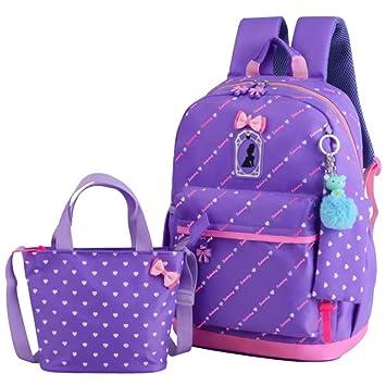 Mochila escolar ligera para niños Corazones lindos del bowknot que imprimen la mochila de las muchachas ...