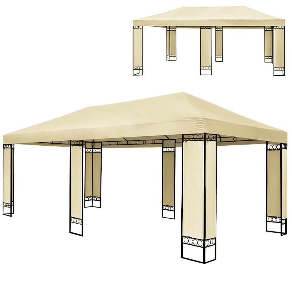 Doppel Luxus Pavillon 4x6m Metall Creme Partyzelt Gartenzelt Festzelt Pavillon Zelt Wasserabweisende Bespannung