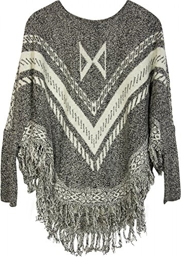 styleBREAKER - Poncho - capa - Étnica - para mujer gris, blanco