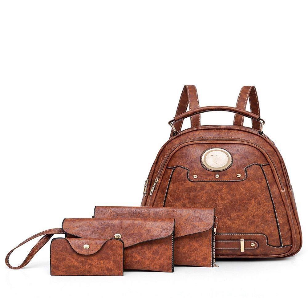 Brown DYR Backpack Lady Handbag Shoulder Bag Wallet FourPiece Mother Bag Outdoor Travel Bag