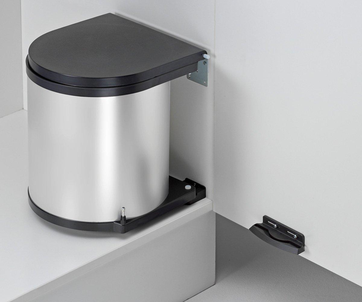 Abfallsammler rund 15L silber Einbaumülleimer Mülltrennsystem Küche Wesco ab 40cm Schrankbreite