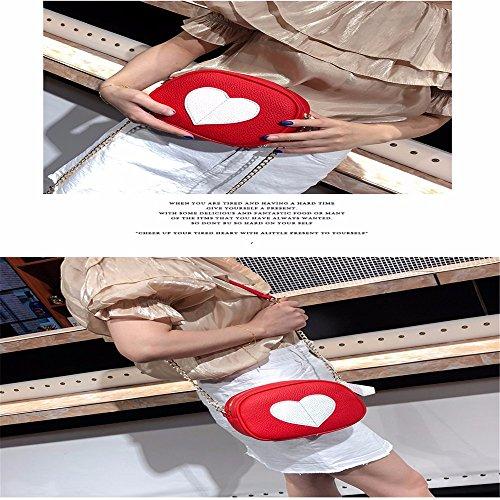Heart GAOQIANGFENG Blanco Luz Amarillo Solo Peach Hombro de Bag Slanted Bolso 5w4aOw