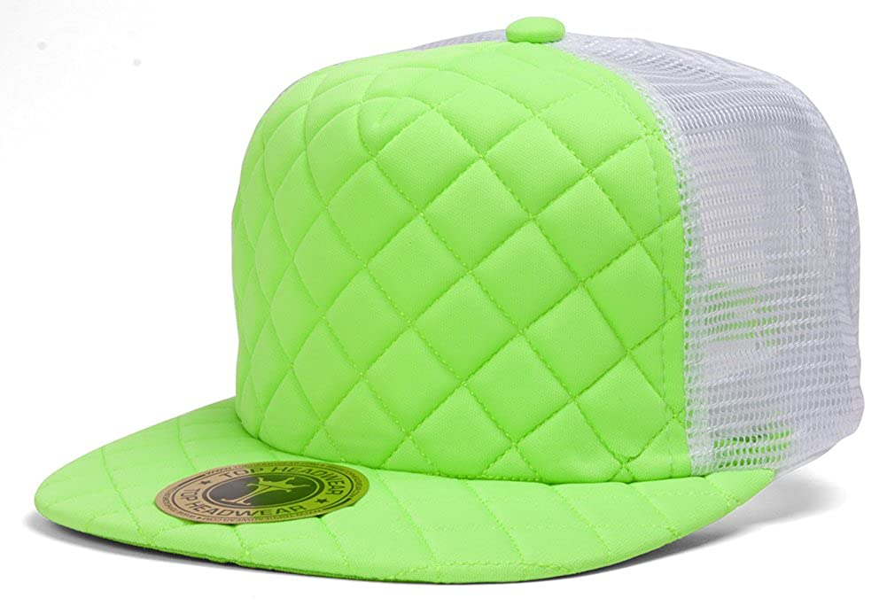 d5b98a82 TOP HEADWEAR TopHeadwear Quilted Adjustable Trucker Hat - White/Gey at  Amazon Men's Clothing store: