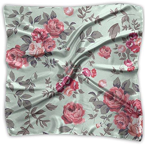 Women's Silk Neckerchief Square Scarf Headdress Satin Neck Lady Printed Square Scarf Head Wrap Kerchief Neck Satin Shawl ()