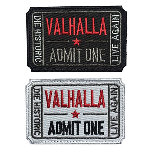 (SpaceAuto Bundle 2 Pieces Ticket to Valhalla Admit One Die Historic Live Again 3D Embroidered Tactical Morale Badge Hook & Loop Patch 2.99