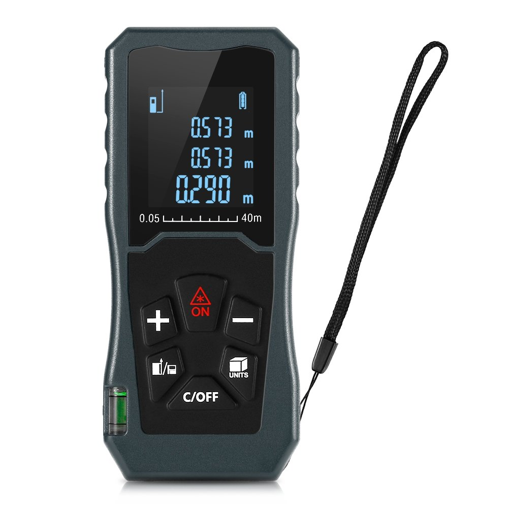 Multipurpose Laser Distance Measure 131FT/40M with Mute Function Large LCD Backlight Display Measure Distance with Area and Volume,Pythagorean Mode by DAMAIFENG
