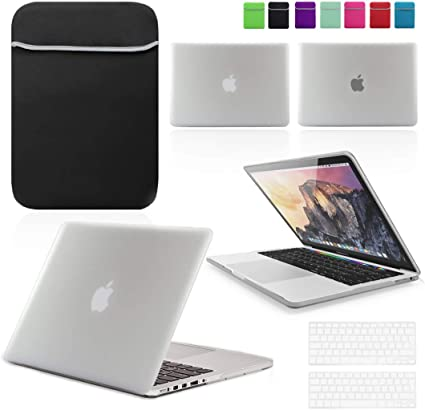Pink Hard Shell Case with matching Keyboard Skin and Neoprene Sleeve Cover for 13 /& 15-inch Apple MacBook PRO BUNDLE