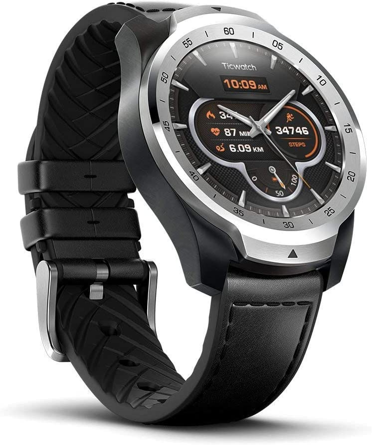 Ticwatch Pro, Premium Smartwatch with Layered Display for Long Battery Life, NFC Payment and GPS Build-in, Wear OS by Google, Sleep Tracking, Compatible with iOS and Android (Silver)