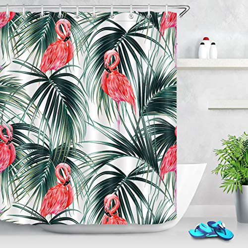 LB Flamingo Shower Curtain Decor Collection,Tropical Plant Palm Leaf with Coral Flamingo Tropical Bird Shower Curtain 60x72 Inch Waterproof Fabric with 10 Hooks (Coral Flamingo)