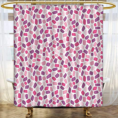 (Mikihome Shower Curtains Digital Printing Formless Polygons in Stylish Print Light Pink Violet Satin Fabric Bathroom Washable W72 x H90 inch)