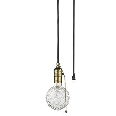 Globe Electric 65446 Edison 1-Light Plug-In Mini Pendant, Bronze, Matte Finish, Designer Black Fabric Cord, Pull Chain On/Off Switch