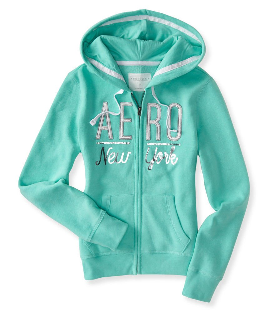 Aeropostale Women's Full-Zip Hoodie With Silver Logo Aero New York In Style 7510 (Light Green, Large)