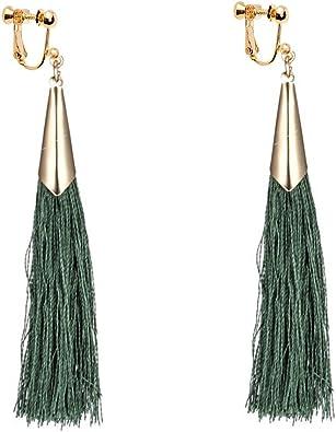 Sweet Bohemian Clip on Earrings Multi-color Tiered Fringe Thread Tassel for Girls Women