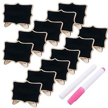 Mini rectángulo pizarras - de madera con soporte tablero de mensajes signos decoración boda/restaurante/fiesta/cocina pequeña pizarra con soporte ...