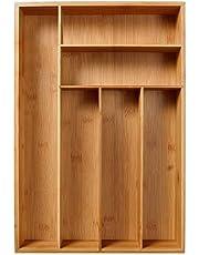 TRULIL Bandeja de Cubiertos de bambú Organizador de cajones ordenado, Duradero naturalmente y Resistente al