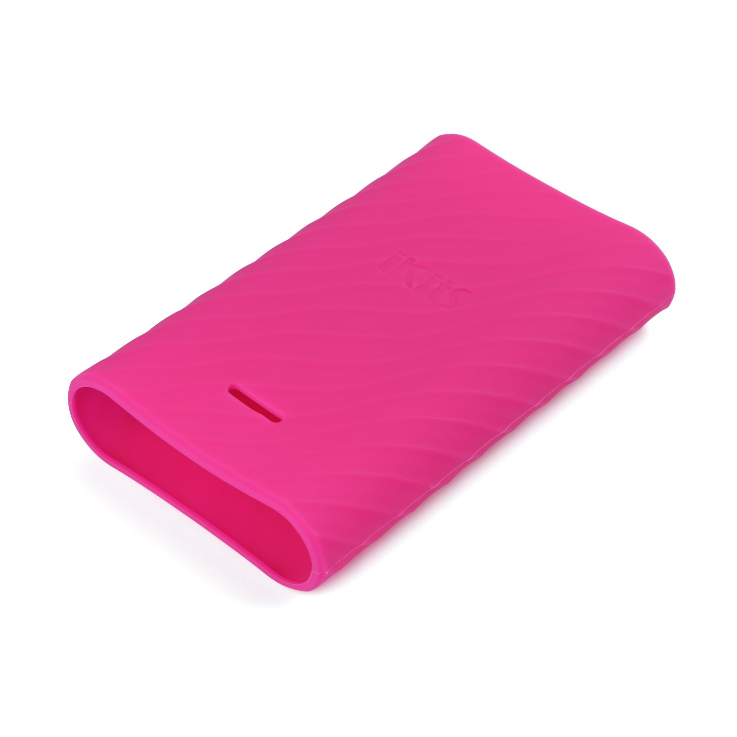 iKits Protective Case 10200mAh Portable Charger, Fast Charge Power Bank Silicone Case, Ripple Wave Design, Precise LED Lights Cut, Colorful Choices for 10000mAh Batter Pack (Rose Red)