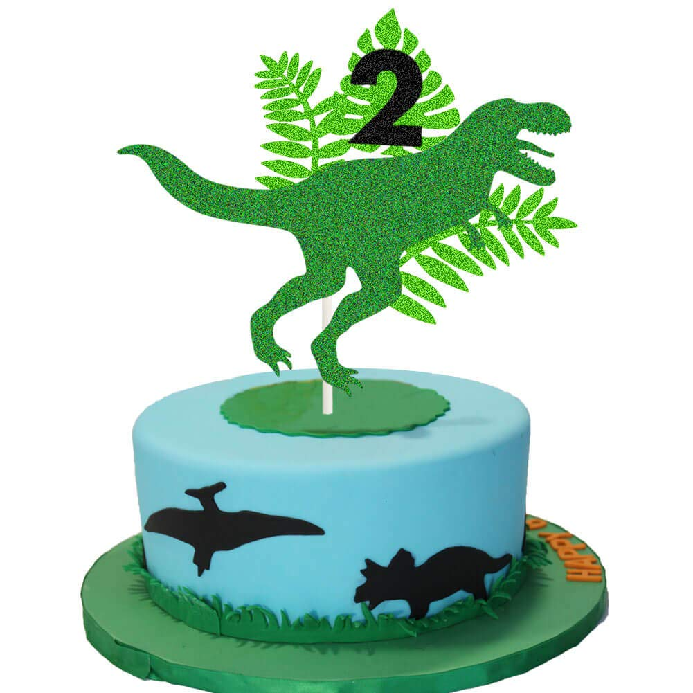 Dinosaur Two Rex Cake Topper ROAR 2nd Birthday Cake Decor Dino Jungle Jurassic Dinosaur T-Rex Themed 2nd Birthday Party Cake Supplies Decorations