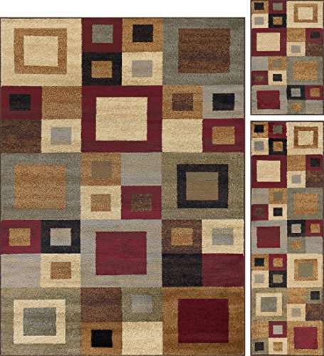Jamie Contemporary Abstract Multi-Color 3-Piece Area Rug Set, 3-Piece Set