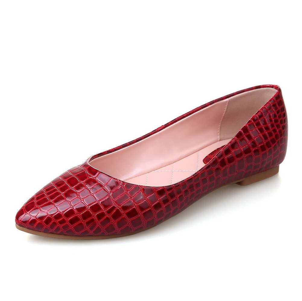 AmoonyFashion Women's PU Checkered Pull-on Pointed Closed Toe No-Heel Flats-Shoes, Red, 35 by AmoonyFashion