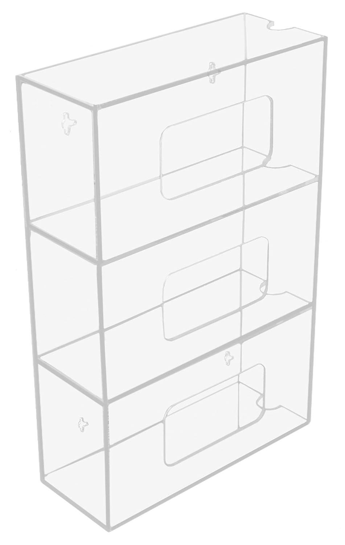 10 Width x 20 Height x 4 Depth TrippNT 50850 Clear Acrylic Quadruple Side Loading Glove Box Holder