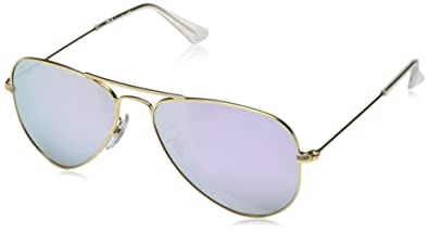Ray-Ban Junior RJ9506S Aviator Kids Sunglasses, Matte Gold/Lilac Flash, 52 mm