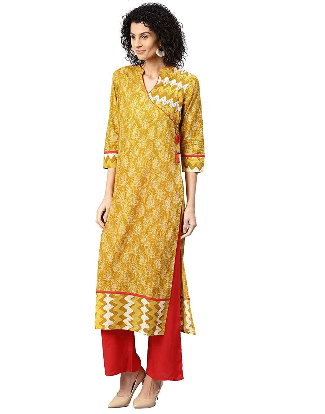 6f8584a91f0 Jaipur Kurti Women Ethnic Casual Abstract Top Tunic Dress Straight Cotton  Kurta   Palazzo (Mustard   Red) at Amazon Women s Clothing store
