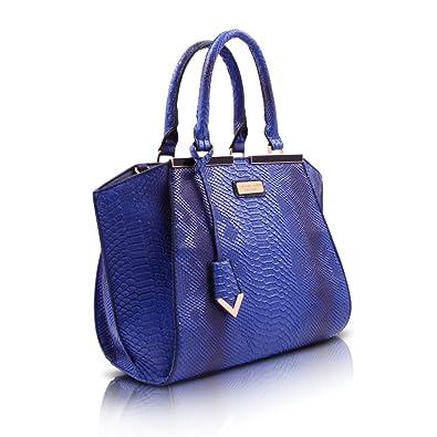 Faux Snakeskin Bag Blue Handbag Large Colette Green: Amazon.co.uk ...