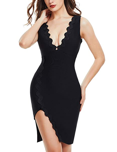 details for order online fantastic savings FLYCOOL Women's Sexy Sleeveless Knee-Length Dress with Slit Elegant Bodycon  Bandage Pencil Dresses